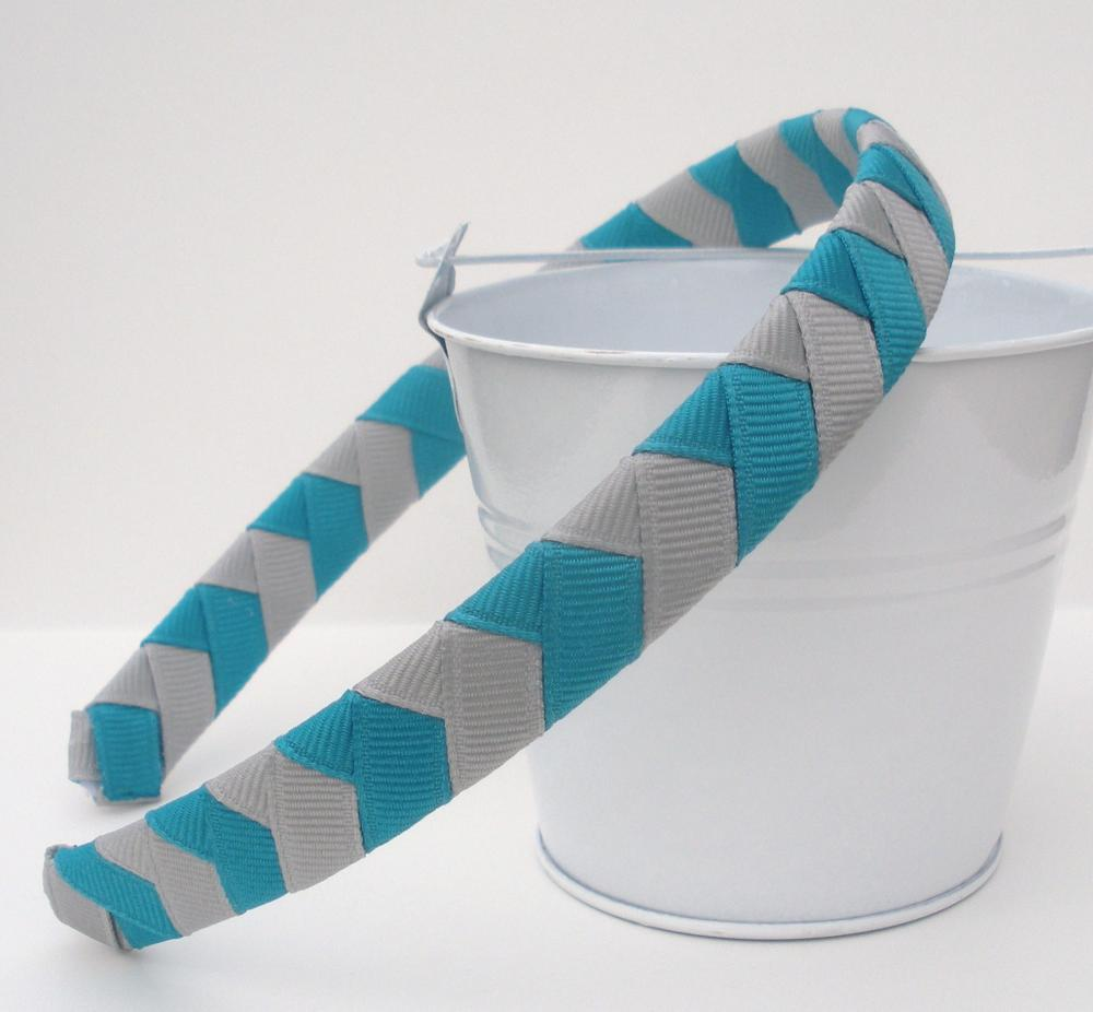 Grey Chevron Headband: half inch hand woven headband grey and teal