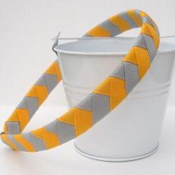 Girls Chevron Headband:  half inch wide hand woven grey and gold headband
